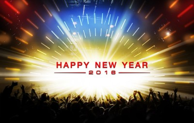 silhouettes of concert and happy new year 2016 Celebration party background